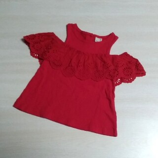 petit main - 80cm♥petit main Tシャツ オフショル レース 刺繍 赤