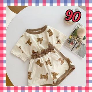 90 男女共通 くまちゃん 半袖 パジャマ 韓国 子供服 ベビー服 即日発送