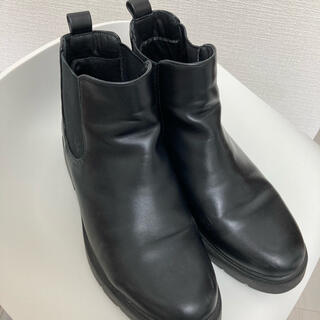 UNIQLO - 梅雨に【UNIQLO】サイドゴアブーツ ショートブーツ ブラック シンプル 梅雨