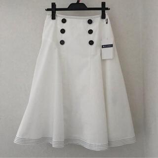 エムズグレイシー(M'S GRACY)の新品☆  エムズグレイシー フレアスカート 白(ひざ丈スカート)