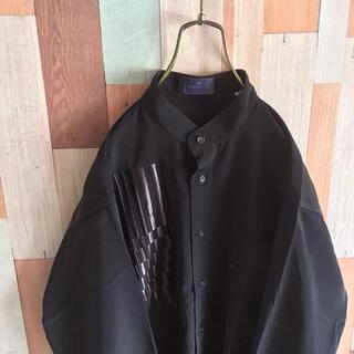 アートヴィンテージ(ART VINTAGE)のGIOVANUOMO 個性的 古着 ポリシャツ バンドカラー 刺繍 黒 灰(シャツ)
