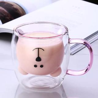 韓国 ダブルウォールグラス 取手付き くま かわいい インテリア 雑貨 北欧(グラス/カップ)