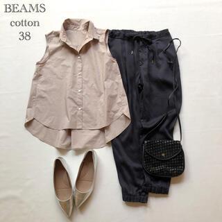 デミルクスビームス(Demi-Luxe BEAMS)の502ビームス オーバーサイズ コットンノースリーブシャツ ベージュ 38(シャツ/ブラウス(半袖/袖なし))