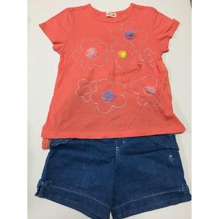 ニットプランナー(KP)の120cm KP オレンジカットソー&ショートパンツセット売り(Tシャツ/カットソー)