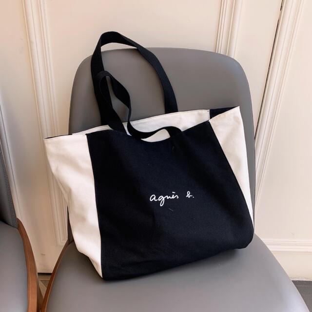 agnes b.(アニエスベー)の新品タグ付き  アニエス べーagnes b トートバッグ ホワイト ブラック レディースのバッグ(トートバッグ)の商品写真
