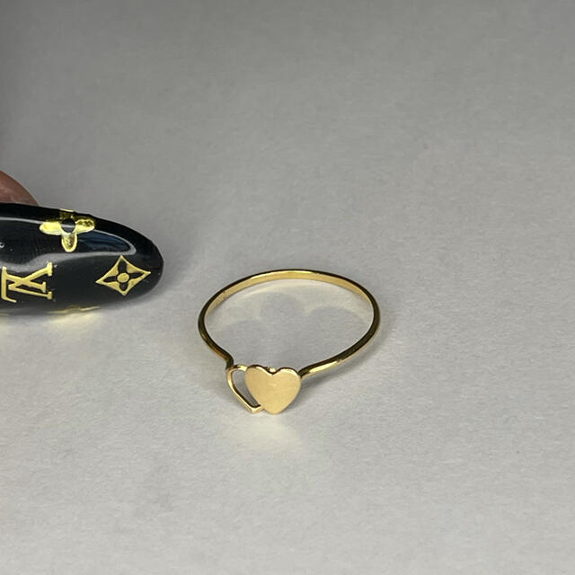 ダブルハート k18 イエローゴールド 18金刻印 レディースのアクセサリー(リング(指輪))の商品写真