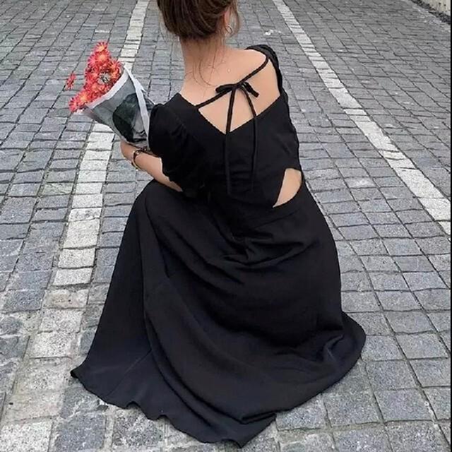 dholic(ディーホリック)のセクシーバックスタイルパフスリーブボリュームロングワンピース レディースのワンピース(ロングワンピース/マキシワンピース)の商品写真