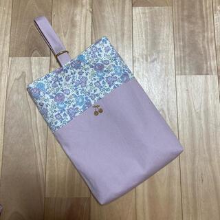 リバティ プリント使用 シューズ入れ 上履き入れ フェリシテ   ピンク 帆布(バッグ/レッスンバッグ)