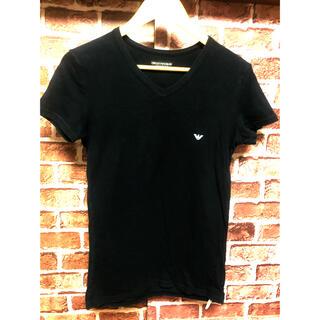 エンポリオアルマーニ(Emporio Armani)のエンポリオアルマーニ シャツ ビッグ イーグルロゴ ブラック ストレッチ素材(Tシャツ/カットソー(半袖/袖なし))