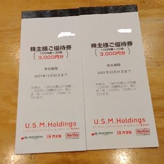 イオン(AEON)のユナイテッドスーパーマーケット USMH 株主優待券 6,000円分(ショッピング)