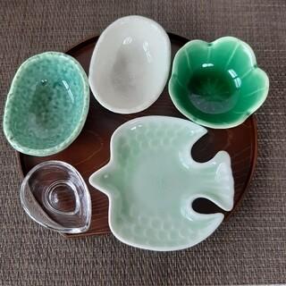 【5点】新品 日本製 美濃焼 小鉢 小皿 豆鉢 グリーン 系 爽やか セット