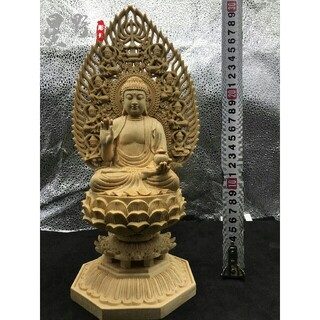 薬師如来 供養品 祈る厄除 仏壇仏像 木彫仏像 仏教工芸品 災難除去(彫刻/オブジェ)