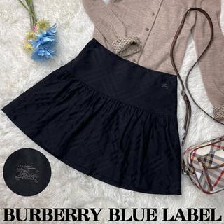 バーバリーブルーレーベル(BURBERRY BLUE LABEL)の美品♡バーバリーブルーレーベル ノバチェック フレア ミニスカート ホースロゴ(ミニスカート)