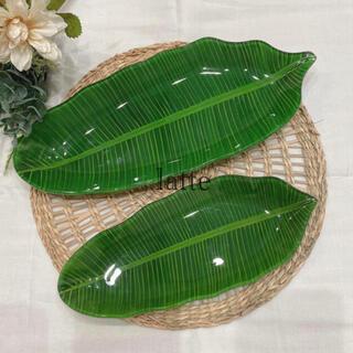 バナナリーフ 皿 2枚セット バナナの葉 ヤシ リーフ ガラス プレート