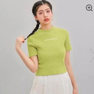 ジーユー(GU)の未使用極美品 リブロゴ半袖Tシャツ へそ出し 完売品 希少 レア(Tシャツ(半袖/袖なし))