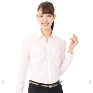 アオヤマ(青山)のn-line Preciousスキッパーカラーギャザーブラウス ピンク 13号(シャツ/ブラウス(半袖/袖なし))