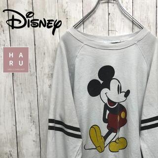 ディズニー(Disney)のDisney ミッキーマウス イラストプリントトレーナーTシャツ(Tシャツ(長袖/七分))
