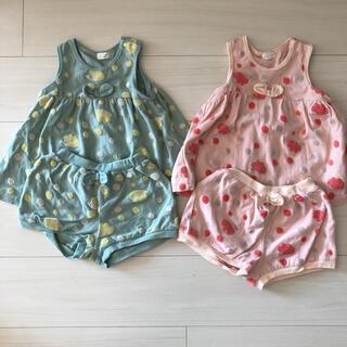 ニットプランナー(KP)のコンビミニ セットアップ 夏服 双子 ハリネズミ 男の子 女の子 80(Tシャツ)