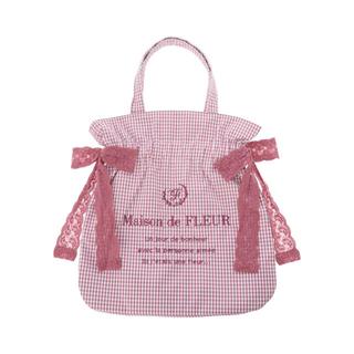メゾンドフルール(Maison de FLEUR)のギンガムチェックレースダブルリボントートバッグ ピンク(トートバッグ)
