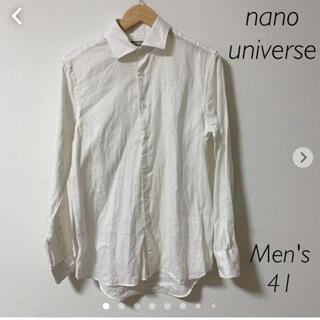ナノユニバース(nano・universe)のnano universe メンズ シャツ 長袖 ホワイト 41  麻素材(シャツ)