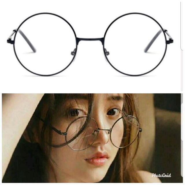 新品 ユニセックス 丸メガネ レトロ伊達メガネ ブラック メンズのファッション小物(サングラス/メガネ)の商品写真