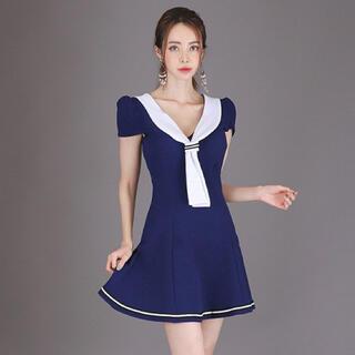 【本日限定セール】DURAS系 韓国ファッション 海風キャバドレス 青