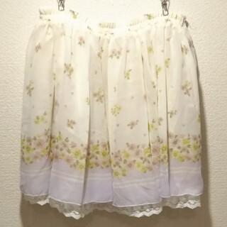 オリーブデオリーブ(OLIVEdesOLIVE)のオリーブデオリーブ リバーシブル 2way 花柄 &ホワイト プリーツ スカート(ひざ丈スカート)