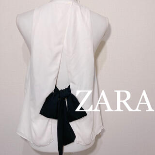 ZARA - ZARA バックリボン ホワイト ノースリーブ ブラウス