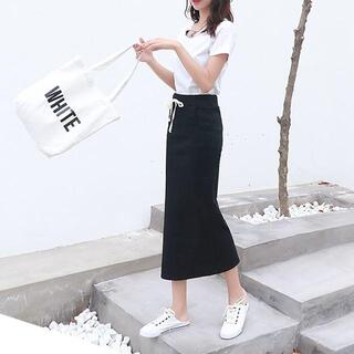 【ブラック】タイトスカート 紐、ポッケ付き(ひざ丈スカート)