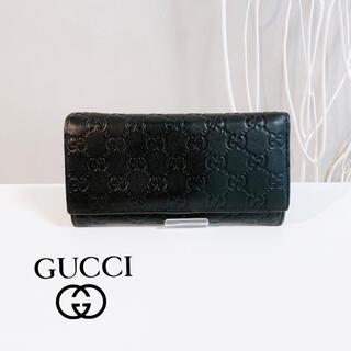 グッチ(Gucci)のGUCCI 長財布 グッチ シマ gg マイクロ ブラック 財布 ウォレット(長財布)