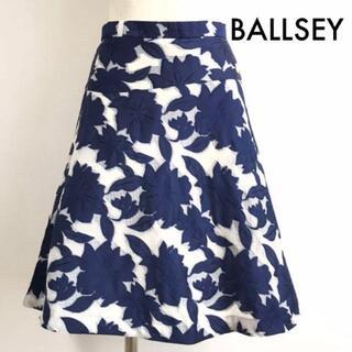 ボールジィ(Ballsey)のボールジィ BALLSEY シルク混 花柄 膝丈 フレアスカート 34 ネイビー(ひざ丈スカート)