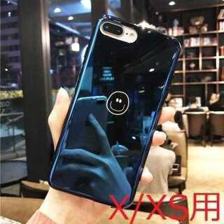 【iPhoneX/XS用】手書き風鏡面ブルースマイリー('ω')(iPhoneケース)