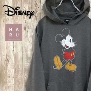 ディズニー(Disney)のディズニー Disney ミッキーマウス 雪模様パーカー プルオーバー グレー(パーカー)