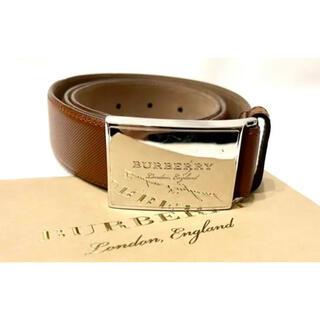 バーバリー(BURBERRY)の【定価4万円】Burberryバーバリー  レザーベルト85ブラウン プローサム(ベルト)