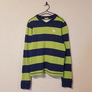 アバクロンビーアンドフィッチ(Abercrombie&Fitch)のabercrombie【160】ロンT 長袖 刺繍 ロゴ ラガーシャツ ボーダー(Tシャツ/カットソー)