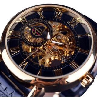 【新品】国内未発売☆ Forsining ブラックゴールドン 腕時計(腕時計(アナログ))