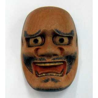 帯留◆能面師 長澤草春作◆能面形帯留【黒髭】 共箱◆新品(彫刻/オブジェ)