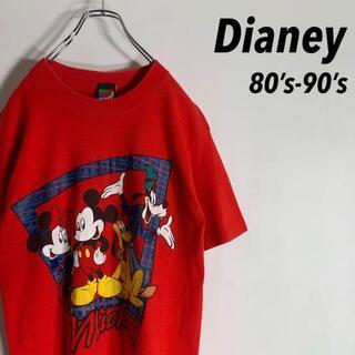 【80s-90s】ディズニー ビッグロゴ シングルステッチ Tシャツ(Tシャツ/カットソー(半袖/袖なし))