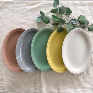 美濃焼 カラフル リムドット  オーバル皿 5枚(食器)