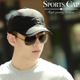 スポーツ キャップ ブラック フリーサイズ 男女兼用 ゴルフ ランニング 帽子(キャップ)