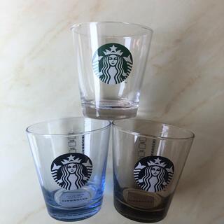 スターバックスコーヒー(Starbucks Coffee)のスターバックス  ロゴグラス  クリア アクア アンバー  3個セット(グラス/カップ)