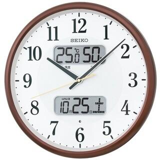 セイコー電波掛け時計日付け温湿度計付き