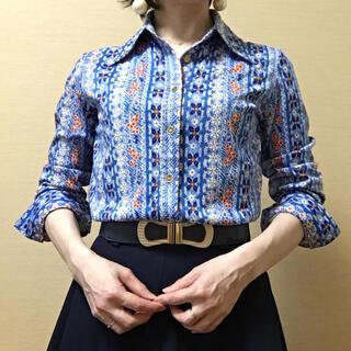 Grimoire - 水色 ボタニカル ストライプ柄 ポリシャツ レトロポップ 昭和 vintage