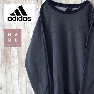 アディダス(adidas)のアディダス adidas ワンポイントロゴ トレーナー グレー 灰色 ブルー 青(トレーナー/スウェット)