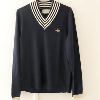 グッチ(Gucci)のGUCCI 蜂 モチーフ Vネック セーター ニット 紺 ネイビー M グッチ(ニット/セーター)