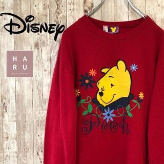 ディズニー(Disney)のディズニー くまのプーさん プリント薄手トレーナー 赤 pooh(スウェット)