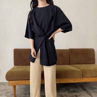 スナップ Tシャツ 半袖 無地 ブラック ロング ビッグ スリット シンプル(Tシャツ(半袖/袖なし))