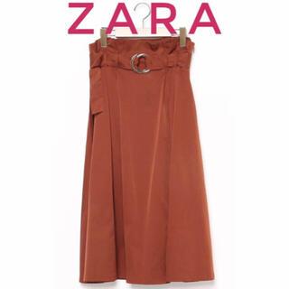 ザラ(ZARA)のZARA ザラ【美品】ベルト付き フレア ミモレ丈 ロング スカート(ロングスカート)