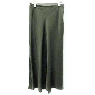 ユナイテッドアローズ(UNITED ARROWS)のユナイテッドアローズ フレアスカート ロング サテン 38 M カーキ(ロングスカート)