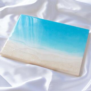 浅瀬の海 海のアートパネル(小さな海シリーズ) F4横 レジンアート(アート/写真)